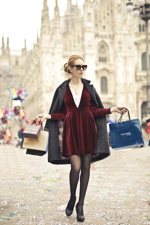 Beautiful woman carrying shopping bags Stock Photo 03