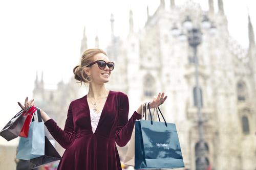 Beautiful woman carrying shopping bags Stock Photo 04