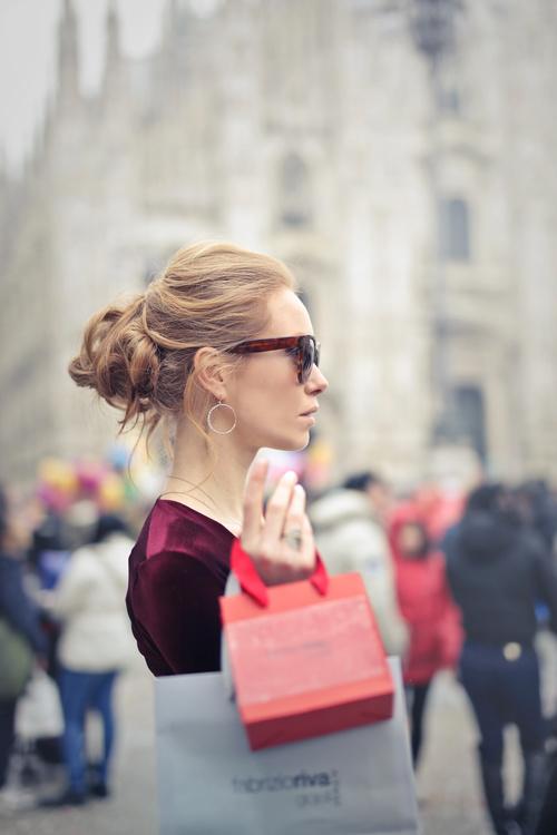 Beautiful woman carrying shopping bags Stock Photo 05