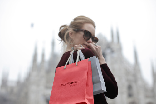 Beautiful woman carrying shopping bags Stock Photo 06