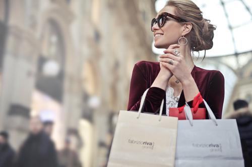 Beautiful woman carrying shopping bags Stock Photo 07