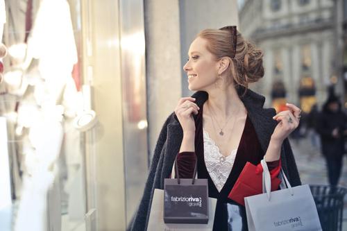 Beautiful woman carrying shopping bags Stock Photo 08