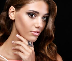 Beautiful woman with evening make up Stock Photo 07