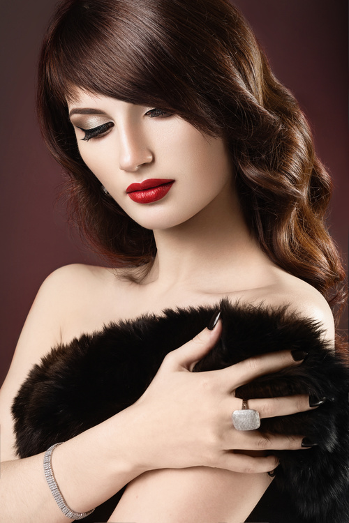 Beautiful woman with evening make up Stock Photo 12