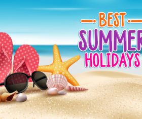 Best summer holiday with beach travel vector 03