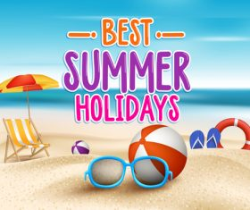 Best summer holiday with beach travel vector 04