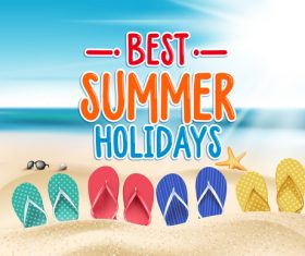 Best summer holiday with beach travel vector 05
