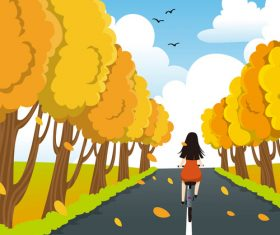 Bicycle girl autumn vector illustration