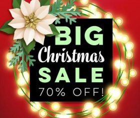 Big christmas sale with flower vector
