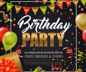 Birthday party poster template design vector