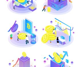 Bitcoin with business office vector elements
