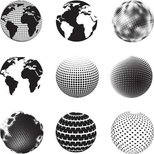 Black and white globe icons 2 vectors free download