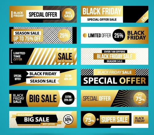 Black with golden black firday sale banners vector