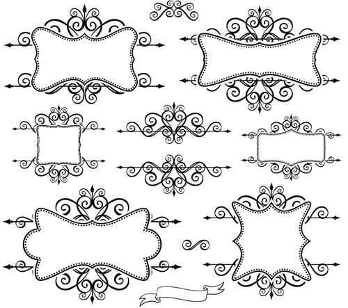 Blank Ornate Labels 1 vector graphics