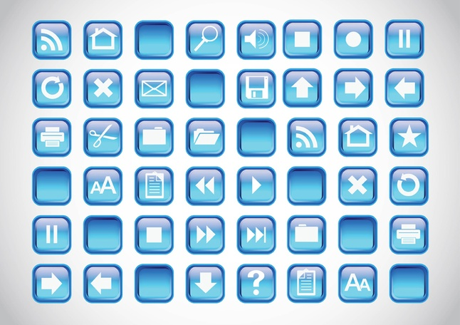 Blue Icons Buttons vector