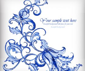 Blue floral retor background vector