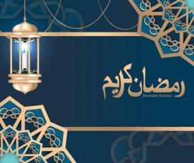Blue islamic styles background design vector 01