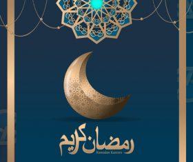 Blue islamic styles background design vector 04