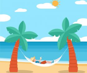 Blue sky white clouds beach seaside holiday vector illustration