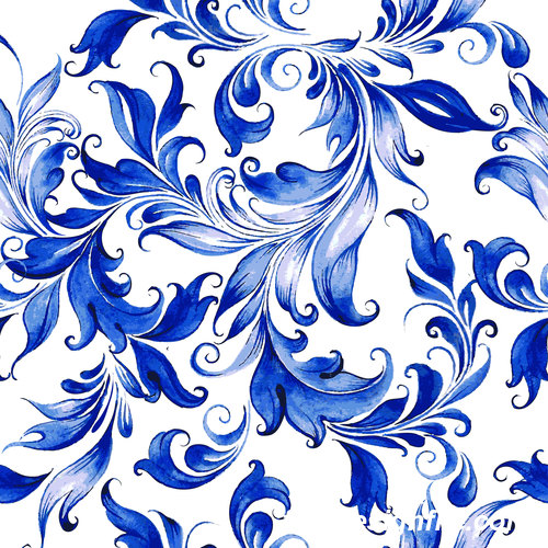 Blue watercolor floral seamless pattern vector 01