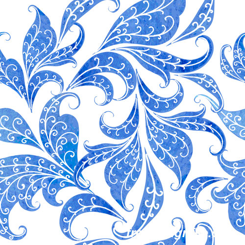 Blue watercolor floral seamless pattern vector 02