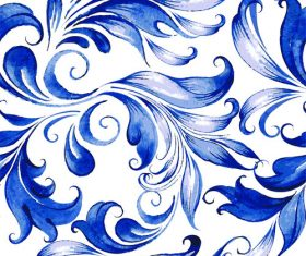 Blue watercolor floral seamless pattern vector 03
