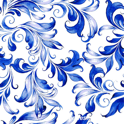 Blue watercolor floral seamless pattern vector 04