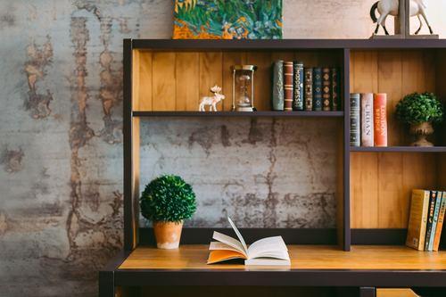 Books on the bookshelf with green plants Stock Photo