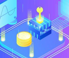Business finance technology future light effect gradient vector illustration