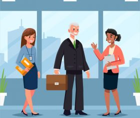 Business office business negotiation work cooperation vector illustration