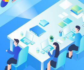 Business office meeting scene vector illustration