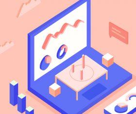 Business office scene vector illustration