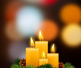 Candle four with blurred christmas background vector