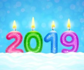 Candle with 2019 new year design and snow vector
