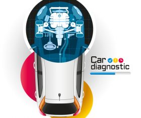 Car repair diagnostic vector template 03