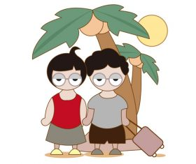 Cartoon hand drawn boys and girls traveling together vector