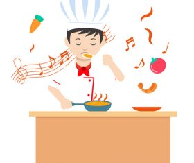 Cartoon hand drawn chef cooking vector illustration