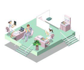 Cartoon hospital surgery vector illustration