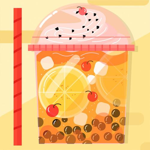 Cartoon hot summer super mug cold drink vector