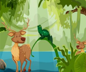 Cartoon illustration of deer in cartoon forest