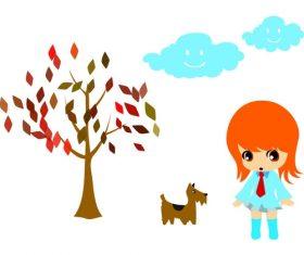 Cartoon tree puppy and little girl vector