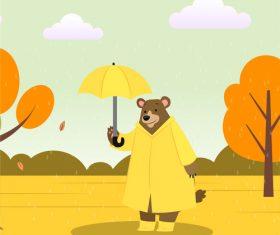 Cartoon vector illustration of bear in the rain