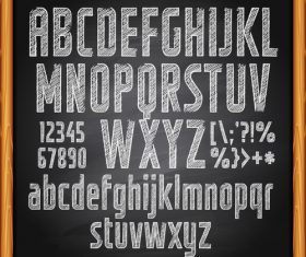Chalkboard alphabet font hand drawn vector 01