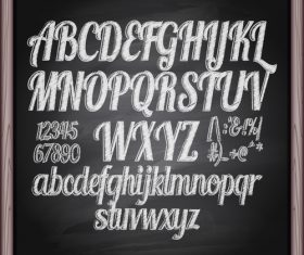 Chalkboard alphabet font hand drawn vector 02