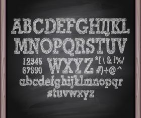 Chalkboard alphabet font hand drawn vector 03
