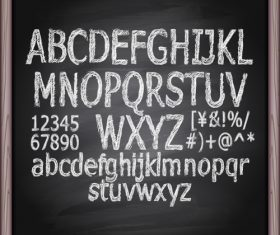 Chalkboard alphabet font hand drawn vector 04