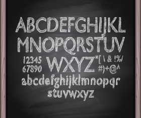 Chalkboard alphabet font hand drawn vector 05