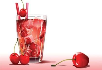 Cherry and fruit juice vector