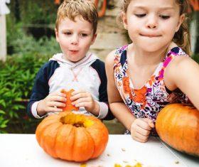 Children celebrating Halloween Stock Photo 01