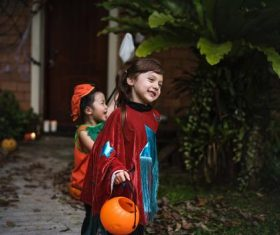 Children celebrating Halloween Stock Photo 02